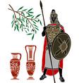 Ancient hellenic warrior and jugs vector
