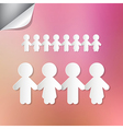Paper people holding hands on pink background vector