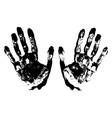 Two black art hand prints grunge vector