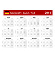 Calendar 2014 german type 9 vector