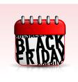 Black friday calendar icon vector