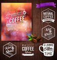 Premium coffee advertising poster and coffee beans vector