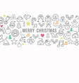 Merry christmas pattern outline icons set card vector