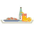 Food in plate with orange juice and water bottle vector