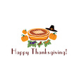 Happy thanksgiving with pie pilgrim hat and vector