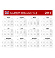 Calendar 2014 english type 9 vector