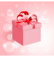 Gift with red bow on background with snowflake vector