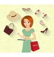Woman doing online shopping vector