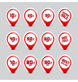 Business discount red labels set isolated on grey vector