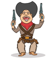 Happy cartoon cowboy with two guns vector