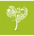 Abstract heart shaped white tree on green vector