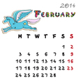 Color horse calendar 2014 february vector