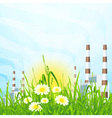 Green grass with power plant vector