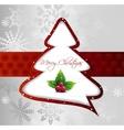 Cartoon christmas tree on silver card vector