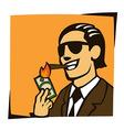 Businessman lights a cigar with dollar vector