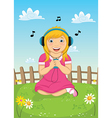Girl listening music vector