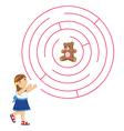 Girl and maze vector