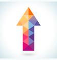 Bright colorful arrow shape in modern polygonal vector