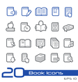 Books icons outline series vector