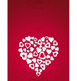 Valentine card with big heart over red background vector