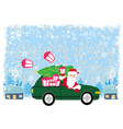 Abstract card with santa claus driving car with vector