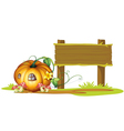 Pumpkin wooden signpost vector