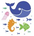 Cute sea characters vector