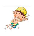 Boy swimming in tube vector