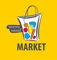 Logo painted bag on a yellow background vector