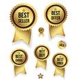 Gold badges set promotion guarantee vector