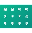 Map icons on green background gps and navigation vector