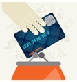 Credit card and purse in flat design style vector