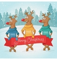 Three deer on the background winter forest vector