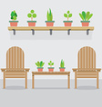Wooden garden chairs and pot plants vector