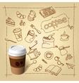 Coffee break doodles and paper cap vector