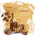 Hand drawn vintage wine menu background vector
