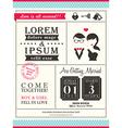 Retro trendy wedding invitation card template vector