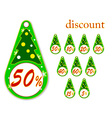 Labels with christmas tree for new years discounts vector