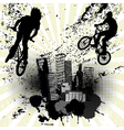 Grunge background with two bikers and city skyline vector