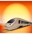 High-speed train with big sun over background vector
