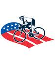 Cyclist riding racing bike set inside oval vi vector