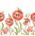 Seamless texture with red poppy flowers vector