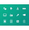 Media icons on green background vector