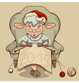 Christmas lamb sitting in a chair and knits symbol vector