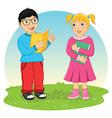 Kids reading book vector