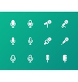 Microphone icons on green background vector