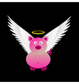 Pink saint pig with great white wings eps10 vector