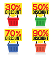 Set of shopping basket discount vector