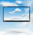 Cloudscape with black tablet pc computer vector