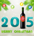 Christmas background with bottle of wine and balls vector